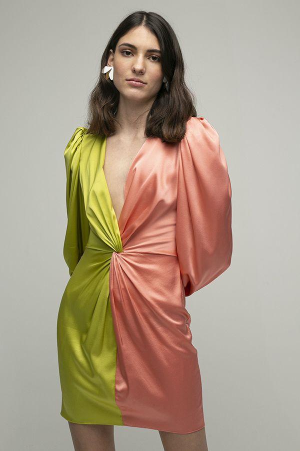 ARaise vestido corto escotado rosa lima nudo manga larga 1