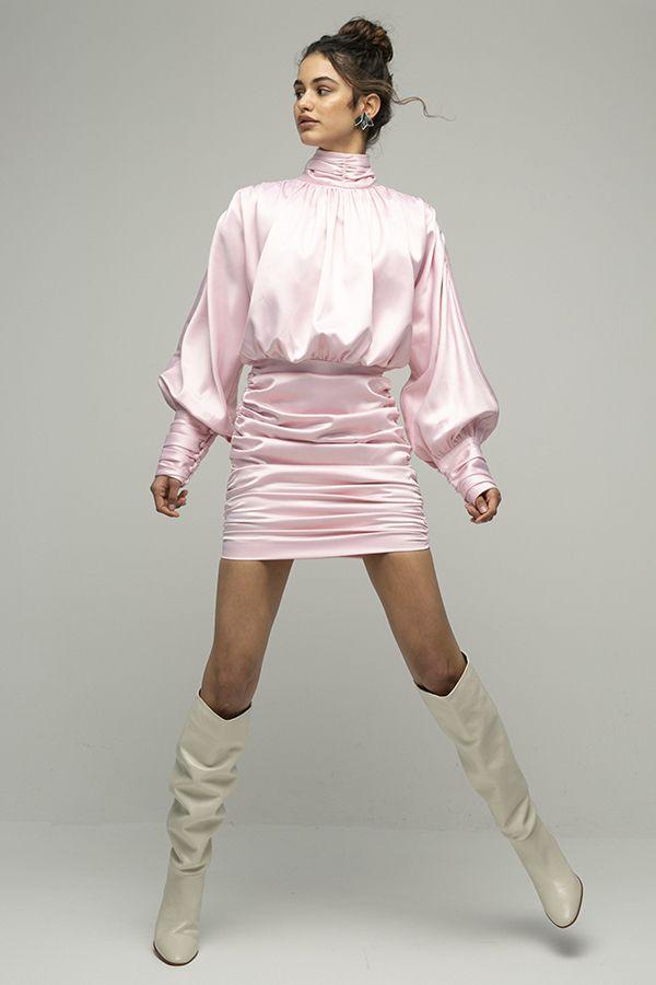 ARaise vestido rosa corto cuello alto manga larga 1