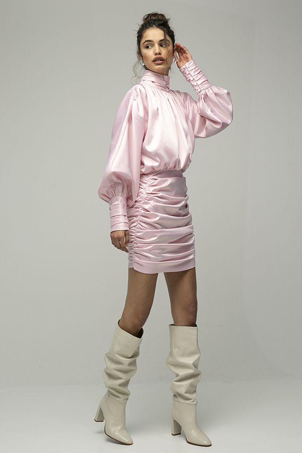 ARaise vestido rosa corto cuello alto manga larga 2