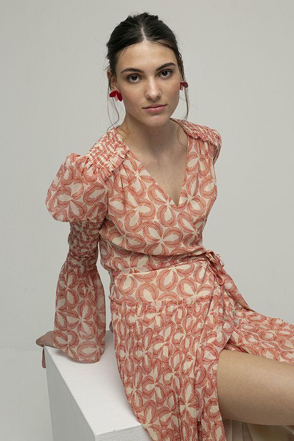 alquiler de vestido midi de fiesta Ani cruzado estampado de manga larga de Diane Von Furstenberg 1