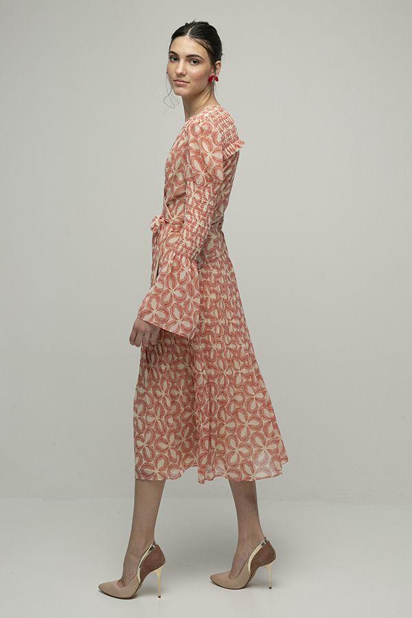 alquiler de vestido midi de fiesta Ani cruzado estampado de manga larga de Diane Von Furstenberg 2