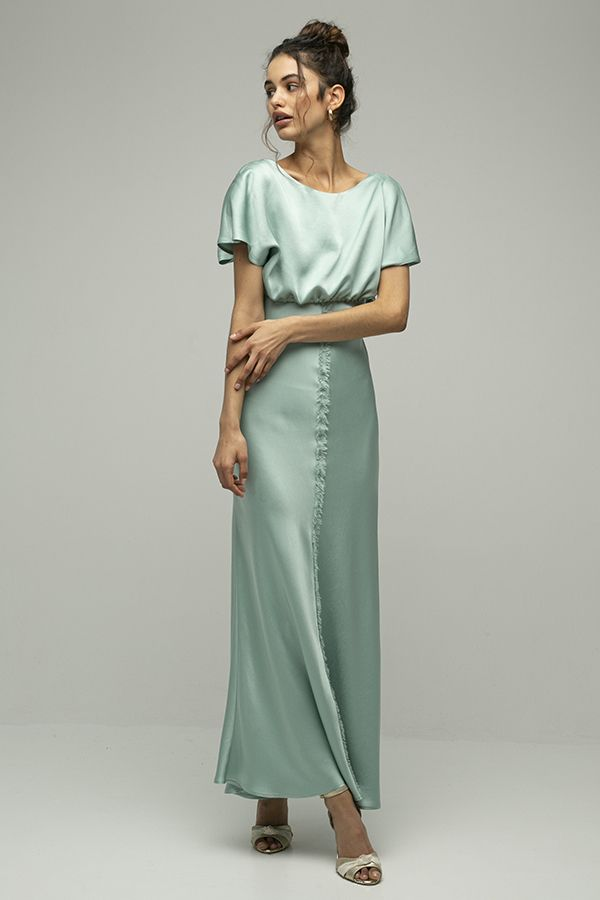 Inunez vestido seda cintura atada verde azul 2