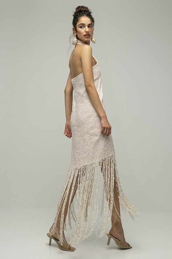 Jacquemus cortese vestido midi flecos blanco 1
