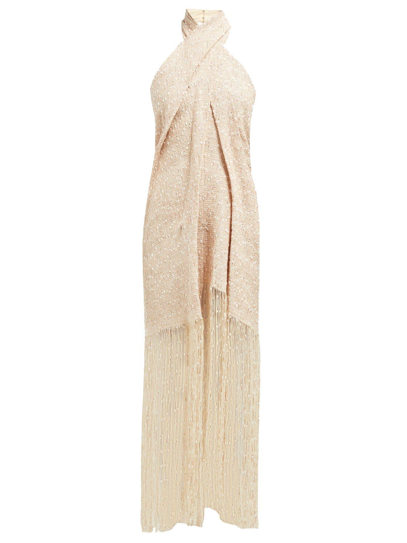 Jacquemus cortese vestido midi flecos blanco 5
