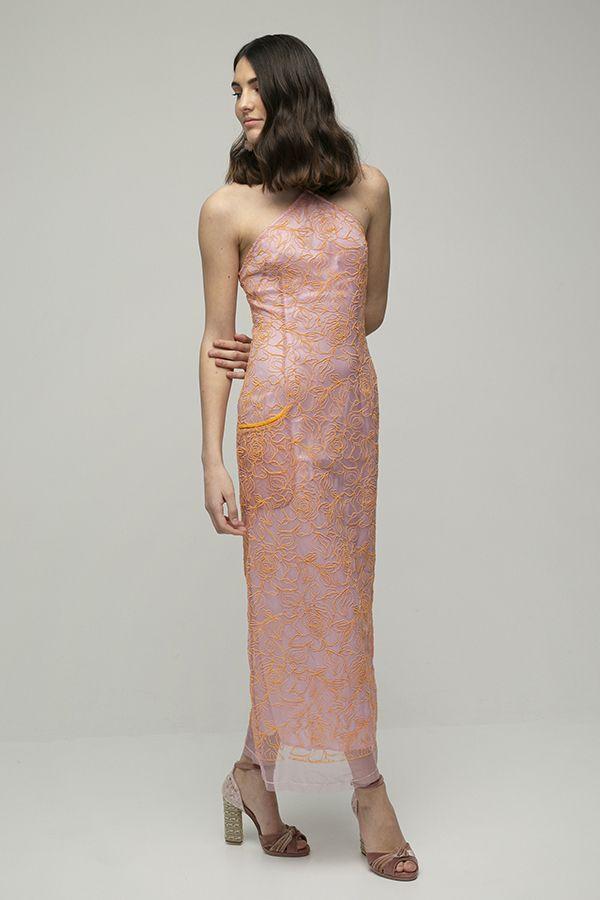 Jacquemus lavandeu vestido halter encaje rosa naranja 1
