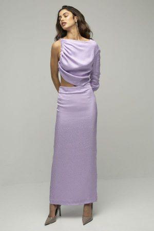 Materiel Leo vestido midi lila cutout asimetrico 1