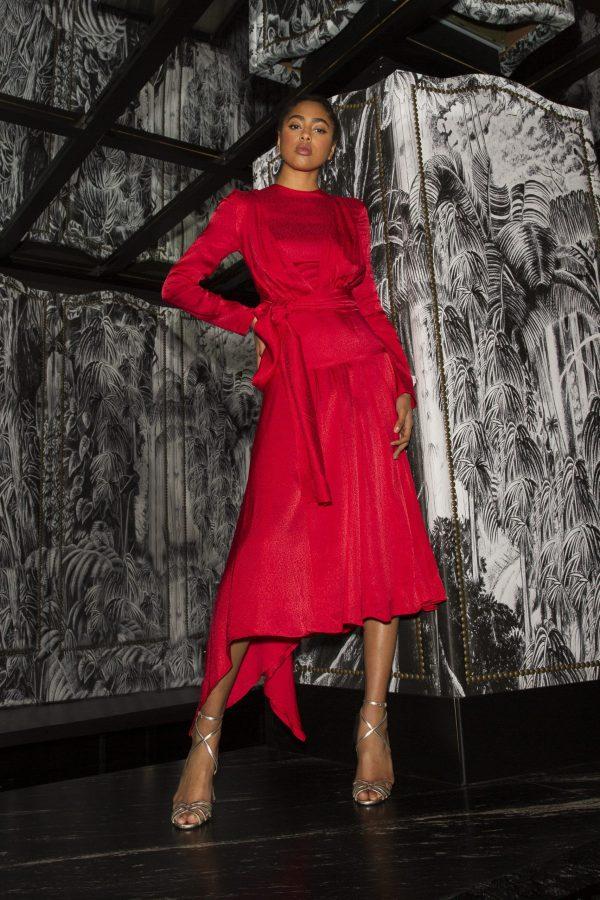 Materiel rojo con falda plisada manga larga midi 0 scaled