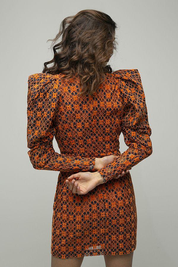 ROTATE birger christensen Ida vestido corto encaje naranja hombreras 3