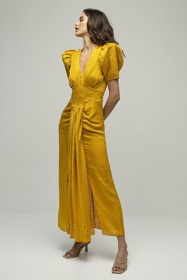alquiler de vestido midi de fiesta Alma amarillo mostaza de Rotate Biger Christensen 6