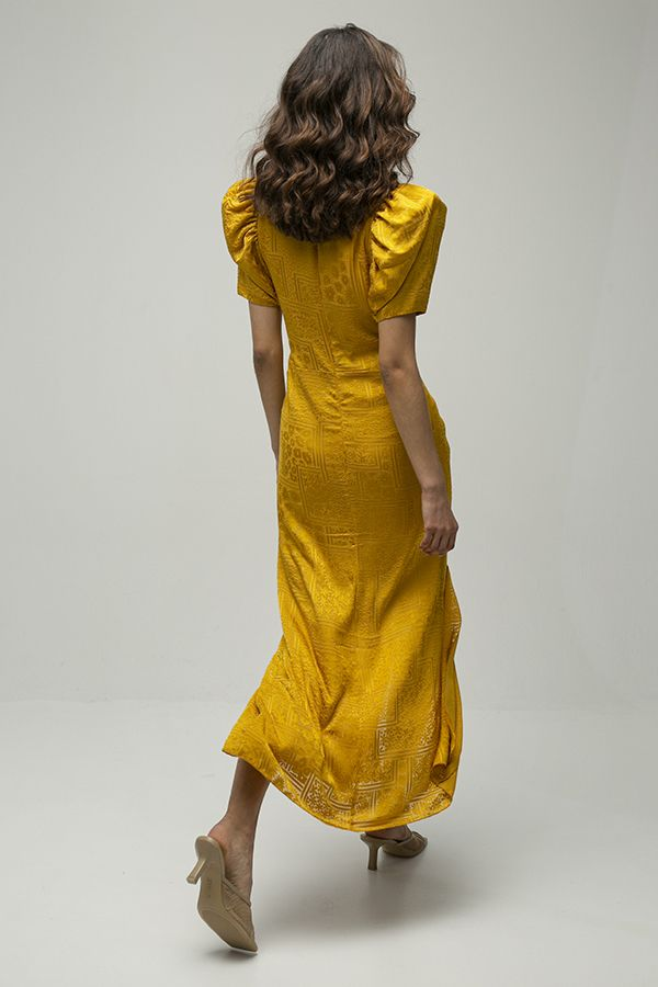 alquiler de vestido midi de fiesta Alma amarillo mostaza de Rotate Biger Christensen 5