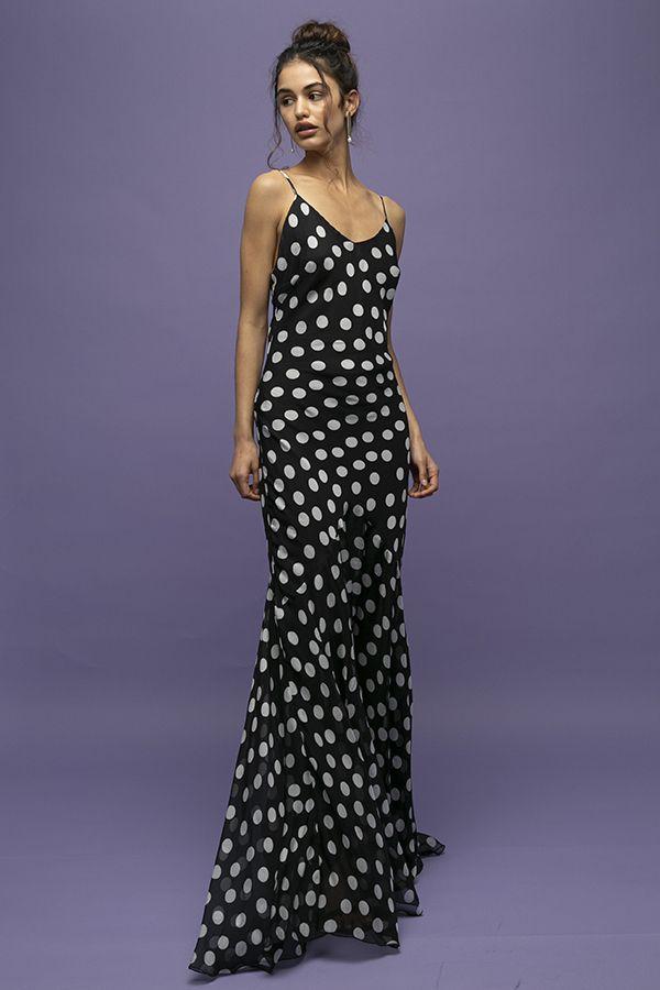 Rat Boa Camille vestido de fiesta largo de lunares negro blanco tirantes 2