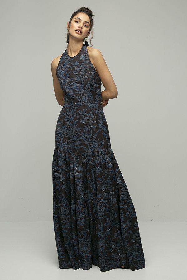 Vestido de fiesta largo Rebeca Vallance estampado espalda abierta azul negro 1