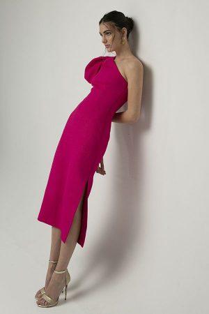Rebecca Vallance un hombro abullonada rosa fucsia midi 1