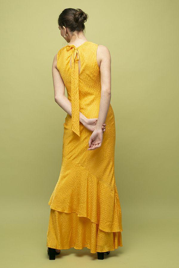 Vestido de fiesta largo Rebecca Vallance Isobella amarillo seda 2