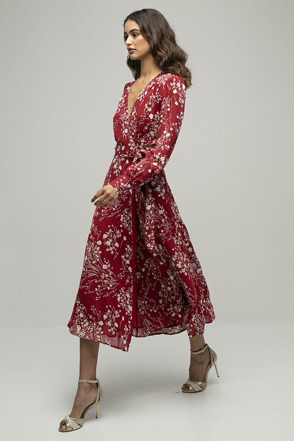 Reformation susanna vestido cruzado rojo estampado 2
