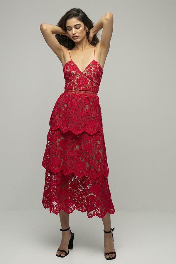 Self portrait vestido encaje rojo midi floral tirantes midi 1