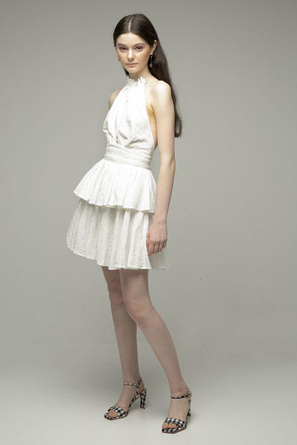 Acler-Klara vestido corto blanco crochet-1