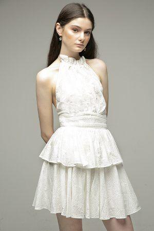 Acler-Klara vestido corto blanco crochet-2