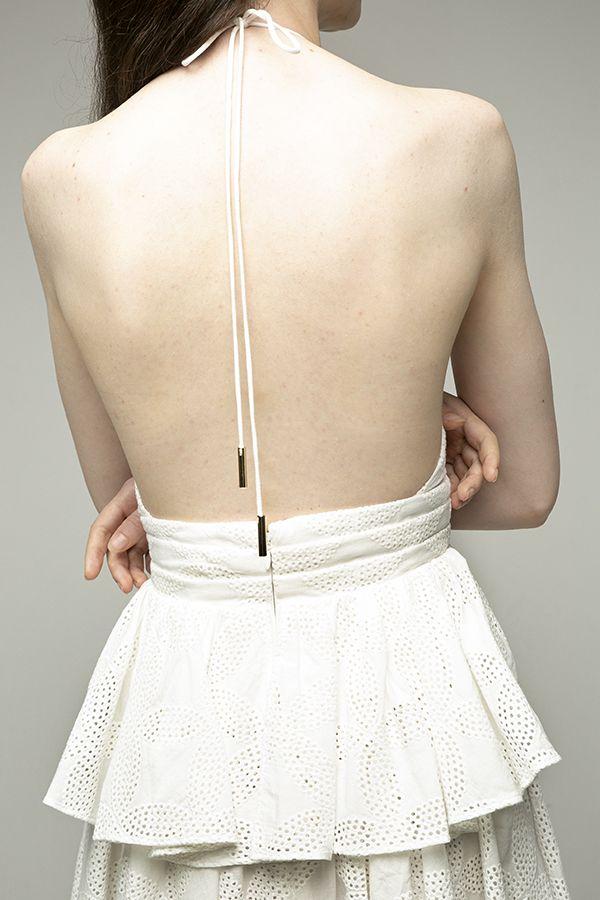 Acler-Klara vestido corto blanco crochet-5